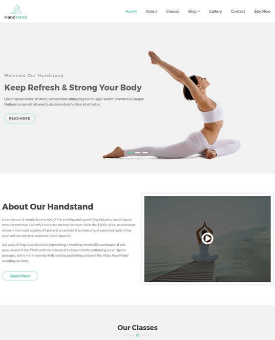 handstand gym fitness wordpress themes