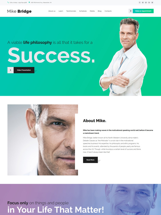 mike bridge life coach wordpress themes