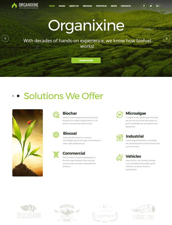 organixine green organic ecofriendly wordpress themes