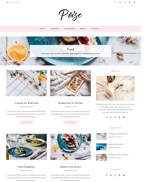 poise food recipe wordpress themes