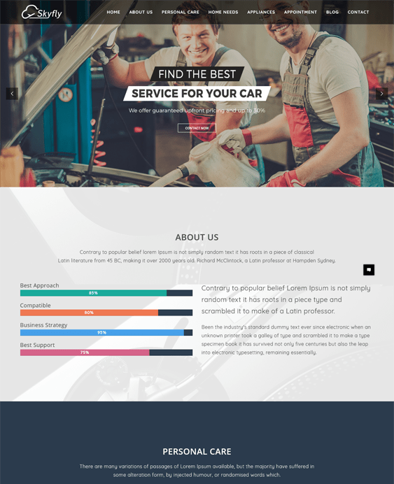 skyfly car vehicle automotive wordpress themes