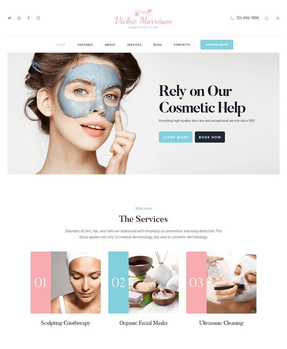 vickie beauty salon spa wordpress themes