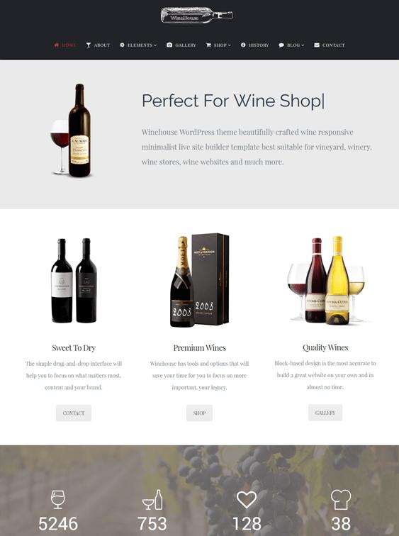 winehouse food drink wordpress themes