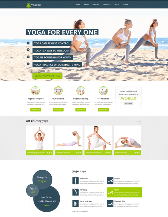 yogafit fitness wordpress themes