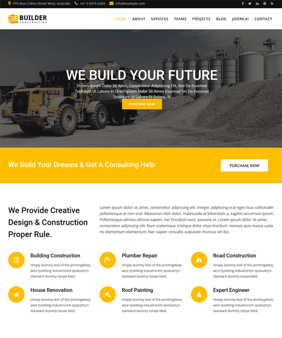 builder joomla templates construction companies building contractors