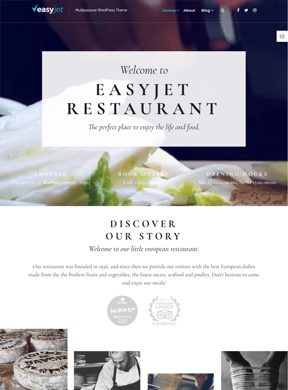 easyjet restaurant wordpress themes