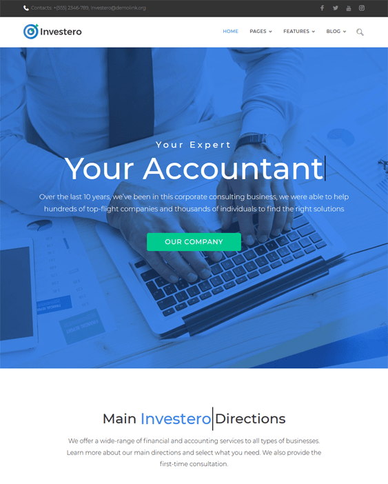 investero accounting wordpress themes