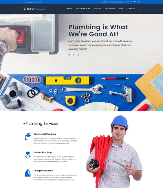 Texon plumbing companies plumbers wordpress themes- Maintenance Services