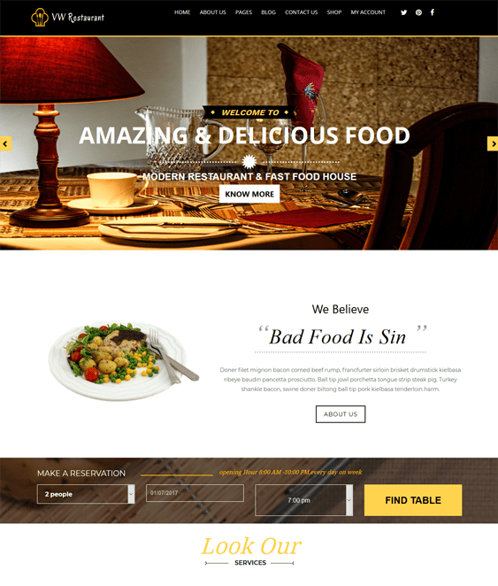 vw restaurant wordpress themes