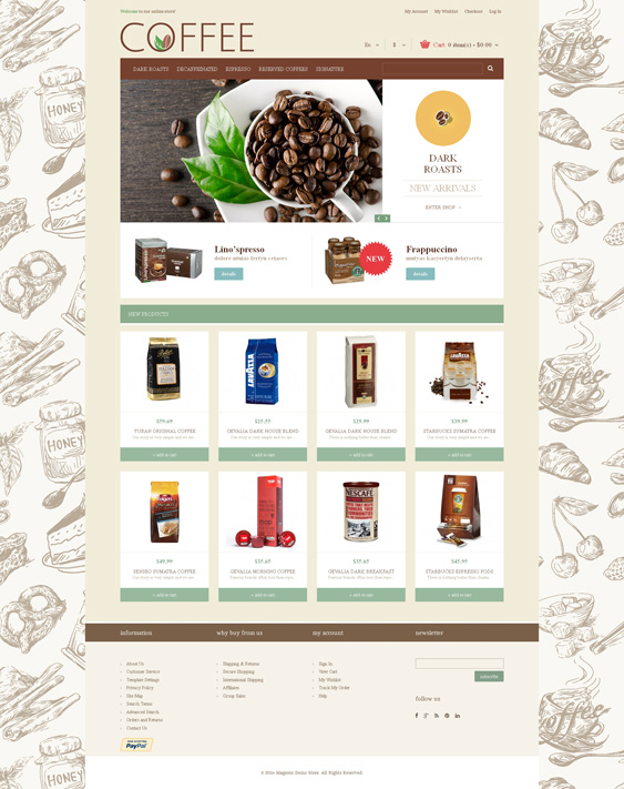 Cup of Coffee shop Magento Theme