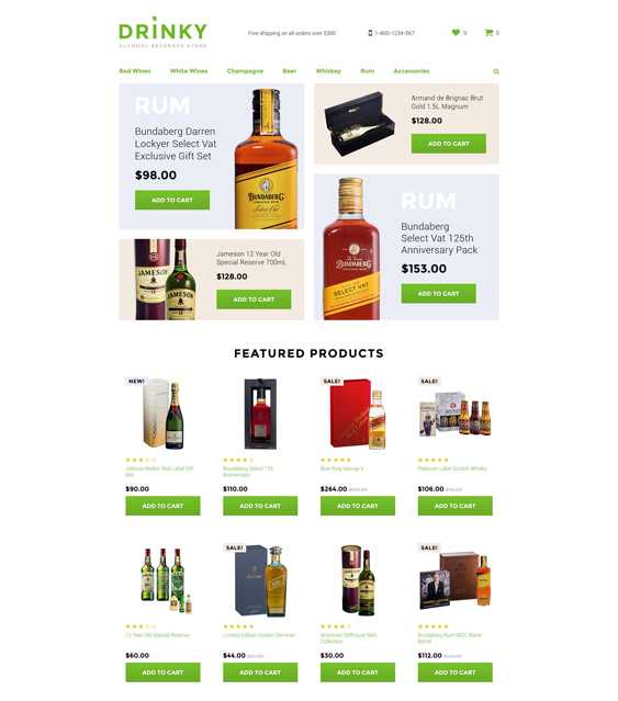 Drinky food drink restaurant opencart themes Template