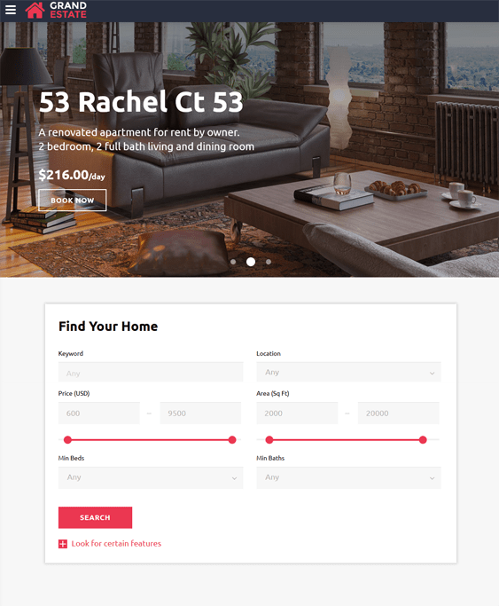 grand real estate bootstrap website templates