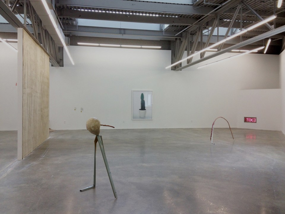 From Left to Right: Sandra Erbacher, Resistance Weave (Assedic 2041) 2014, Carpet, wooden frame; Andrew Boatright, Kum ngo, 2014, metal, balloon, polyurethane adhesive, spray paint; Sandra Erbacher, Monument, 2014, Archival inkjet print; Andrew Boatright, Tilte d'Arc, 2014, Old metal pipe, aluminum foil, polyurethane adhesive, wood stain; Sandra Erbacher, Inside Out,2014, Aluminum, neon, transformer