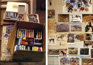 Detail of Joan Mitchell's studio, from Artists at Work.