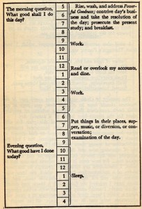 "Benjamin Franklin, untitled, 2016. Reproduction of timetable from ""The Autobiography of Benjamin Franklin"" provided as source material for the series ""Crip Time,"" 2016–. Published in ""Notes for the Waiting Room,"" 2016 (forthcoming)."