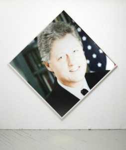 Christopher K. Ho, First Black President, 2012, digital print of President Clinton manipulated with early '90s version of Photoshop, 104 x 104 inches