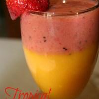 Layered Tropical Smoothie {Mango,Strawberry, Kiwi and Banana}