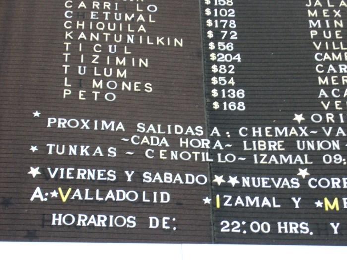 Yucatan, Stazione degli autobus
