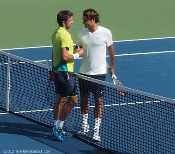 Stanislas Stan Wawrinka Roger Rog Federer smoosh handshake net Cincinnati Western and Southern Open semifinal photos pictures images