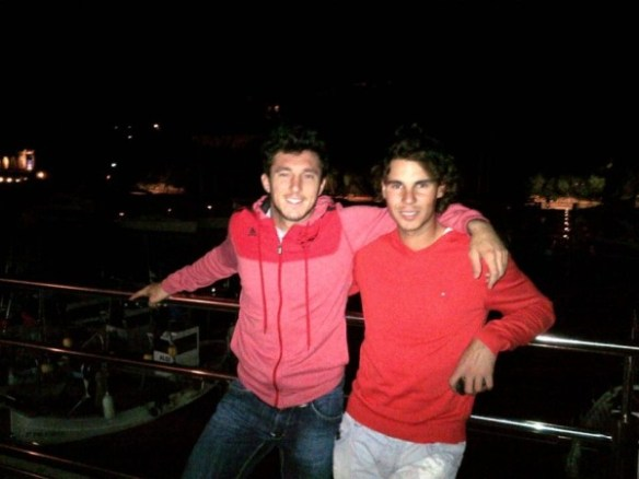 Rafael Rafa Nadal Juan Pico Monaco pink red shirts embrace hug vacation photos pictures images