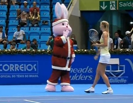 Maria Masha Sharapova Santa Claus Easter bunny pink Brazil exo