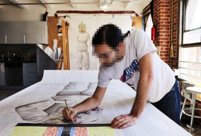Monsu Plin creating the artwork for Satan's Disco.  Photo credit: