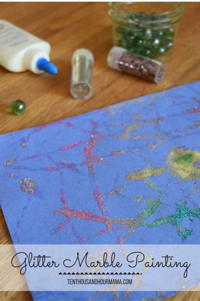 You've tried marble painting, but what about GLITTER marble painting? Your kids will love this easy process art! Ten Thousand Hour Mama