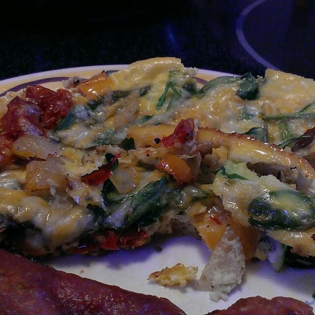 sun dried tomato mini pepper and spinach frittata with cheese