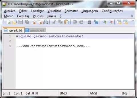 Criando arquivo Texto com Java