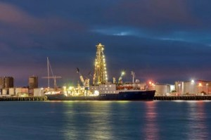 Night view of the JOIDES Resolution docked in Auckland, New Zealand before its departure on 13 December 2010. (Credit D. Buchs, Australian National University)