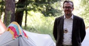 Camped out at the summer Fishtrap workshop in Wallowa County, Oregon State graduate student Jon Ross prepares for an experiential year in OSU's MFA program in creative writing. (Photo: Callie Newton)