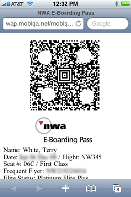 My boarding pass, slightly altered to protect the innocent