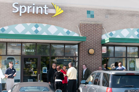 11 people lined up outside my local Sprint store at 10AM