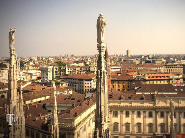 The city of Milan Italy from the roof of the Milan Cathedral