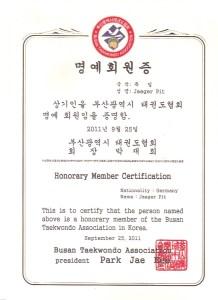 Ehrenmitgliedschaft Pusan Taekwon-Do