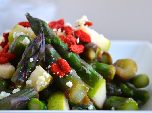 purple asparagus salad with blue cheese and goji berries