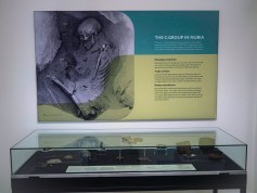 A low glass case containing artefacts, with an information panel on the wall which includes a photo of a partially excavated human skeleton