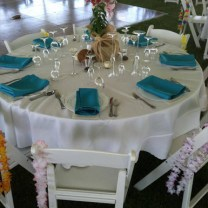 Table Setting White Resin Chairs and White Blue Settings