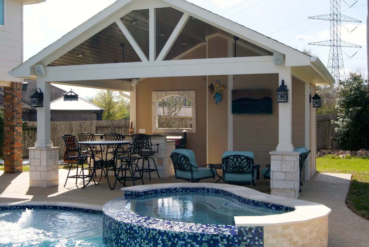 League city pool house texas custom patios for Outdoor pool house