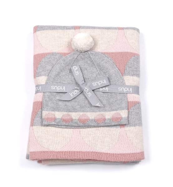 Oval baby girl blanket & hat set USOV2-1