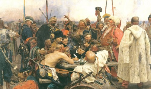 Famous painting of Ukrainian Cossacks writing a triumphant and bawdy letter to the Turkish Sultan after the Cossacks defeated his army