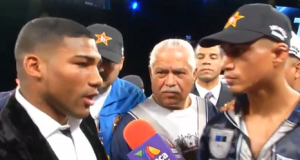 Yuriorkis Gamboa Confronts Mikey Garcia In The Ring After Garcia's Victory