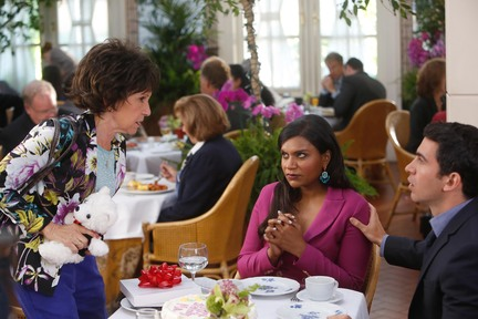 "THE MINDY PROJECT: Danny's mother, Annette (guest star Rhea Pearlman, L) gets upset when Danny (Chris Messina, R) gives her an extravagant birthday present in the ""Annette Castellano Is My Nemesis"" episode of THE MINDY PROJECT airing Tuesday, Sept. 23 (9:30-10:00 PM ET/PT) on FOX. Also pictured: Mindy Kaling (C). ©2014 Fox Broadcasting Co. Cr: Jordin Althaus/FOX"