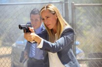 "BONES: L-R: John Boyd and guest star Kim Raver in the ""The Brother in the Basement"" episode of BONES airing Thursday, Oct. 8 (8:00-9:00 PM ET/PT) on FOX. ©2015 Fox Broadcasting Co. Cr: Kevin Estrada/FOX"