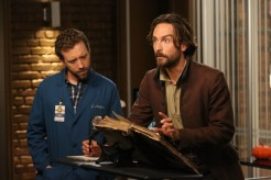 "BONES: L-R: TJ Thyne and guest star Tom Mison in the special ""The Resurrection in the Remains"" BONES/SLEEPY HOLLOW crossover episode of BONES airing Thursday, Oct. 29 (8:00-9:00 PM ET/PT) on FOX. ©2015 Fox Broadcasting Co. Cr: Patrick McElhenney/FOX"