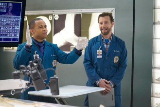 "BONES: L-R: Guest star Eugene Byrd and TJ Thyne in the ""The Promise in the Palace"" episode of BONES airing Thursday, Nov. 12 (8:00-9:00 PM ET/PT) on FOX. ©2015 Fox Broadcasting Co. Cr: Jennifer Clasen/FOX"