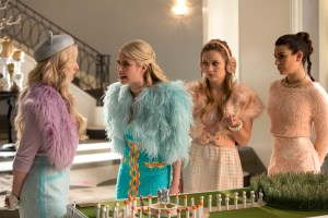 """SCREAM QUEENS: Pictured L-R: Abigail Breslin as Chanel #5, Emma Roberts as Chanel Oberlin, Billie Lourd as Chanel #3 and Lea Michele as Hester in the """"Pumpkin Patch"""" episode of SCREAM QUEENS airing Tuesday, Oct. 13 (9:00-10:00 PM ET/PT) on FOX. ©2015 Fox Broadcasting Co. Cr: Steve Dietl/FOX."""