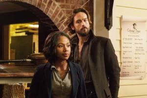 "SLEEPY HOLLOW: Ichabod Crane (Tom Mison, L) and Abbie (Nicole Beharie, R) try to come up with a plan in the ""I, Witness"" season two premiere episode of SLEEPY HOLLOW airing Monday, Oct. 1 (9:00-10:00 PM ET/PT) on FOX. ©2014 Fox Broadcasting Co. CR: Tina Rowden/FOX"