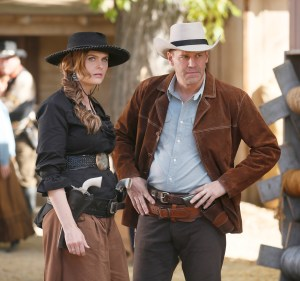 "BONES:  L-R:  Emily Deschanel and David Boreanaz in the first part of the two-hour ""The Cowboy in the Contest/The Doom in the Boom"" fall finale episode of BONES airing Thursday, Dec. 10 (8:00-10:00 PM ET/PT) on FOX.  ©2015 Fox Broadcasting Co.  Cr:  Jennifer Clasen/FOX"