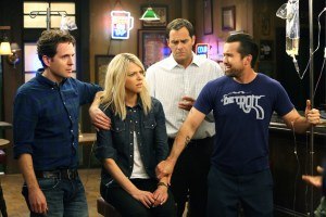 "IT'S ALWAYS SUNNY IN PHILADELPHIA -- ""Chardee MacDennis 2: Electric Boogaloo"" -- Episode 1101 (Airs Wednesday, January 6, 10:00 pm e/p) Pictured: (l-r) Glenn Howerton as Dennis, Kaitlin Olson as Dee, Andy Buckley as Andy, Rob McElhenney as Mac.  CR: Patrick McElhenney/FX"